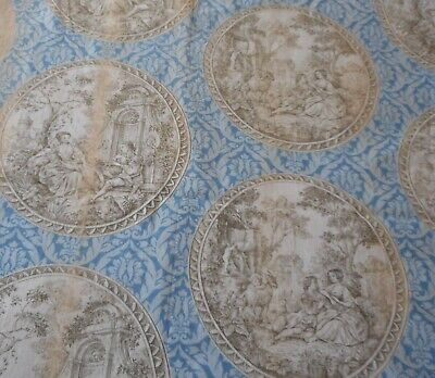 Vintage French Romantic Toile Cotton Fabric ~ Beautifully Aged ~ Blue Tea Sepia