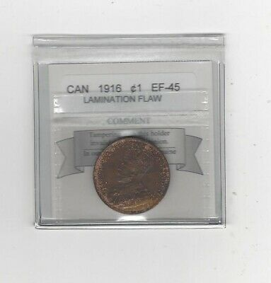 1916  Coin Mart Graded Canadian, Large One Cent, **EF-45 Lamination Flaw**