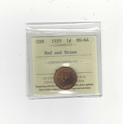 1929 ICCS Graded Canadian, Small One Cent, **MS-64**