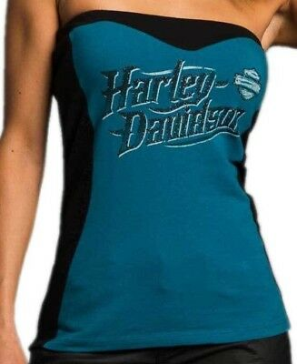 Harley-Davidson Women's  XL Tube top shirt Blue and black w/bra shelf Sexy