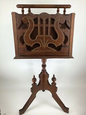 Victorian antique rosewood music stand sheet music song books storage