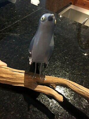 Blue Type Bird Carved Wooden Sculpture on Driftwood Hand Painted