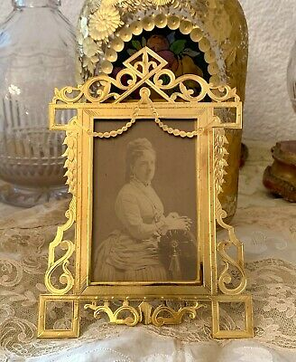 Antique French Bronze Gilded  Picture Frame 19th. ct openwork decor