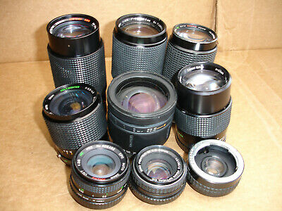 Lot of 9 Pentax K ( PK ) mount lenses for parts. repair only  Lens lot AS IS