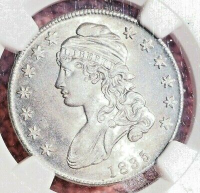 NGC MS62 1835 Capped bust half dollar Lightly toned w/ full luster R1