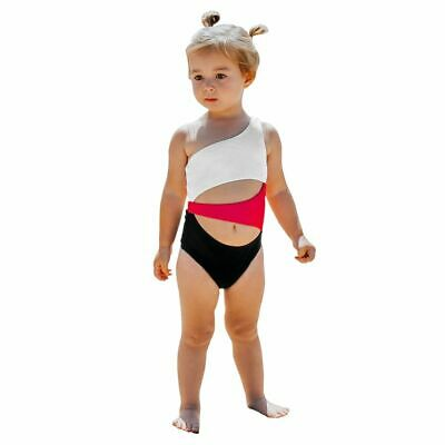 One Shoulder Cut Out One-piece Swimsuit For Toddler Girls And Girl Kids Swimsuit