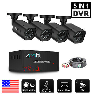 Zoohi 1080P Home Security Camera System Wired 2MP 5inch1 DVR AHD 4CH Outdoor HD