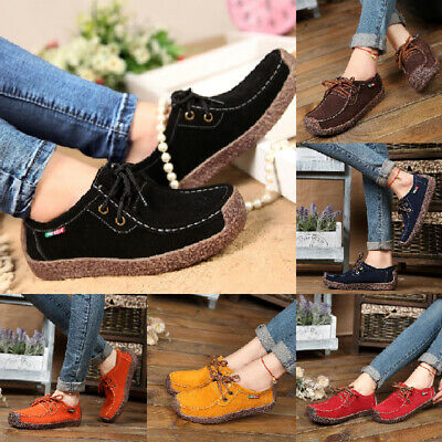 Women Suede Leather Lace-up Flats Loafer Boat Ladies Moccasin Comfy Shoes