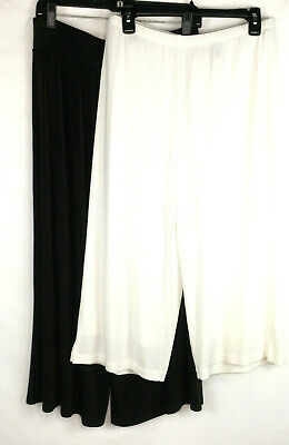Chicos 2 size Womens Large Travelers Pants Capri Crop Brown & White Culottes 2