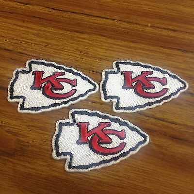 NFL Lot Of (3) Kansas City Chiefs 2 3/4 X 1 1/2 Iron On Patches Nice !