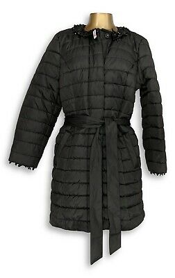 Dennis Basso Quilted Coat Detachable Beaded Collar Charcoal 1X NEW A287246