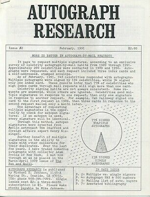 Autograph Research #2, February 1991, underground newsletter; autograph buyers
