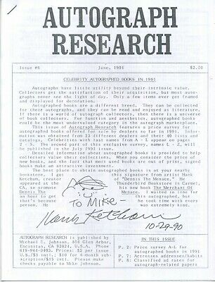 Autograph Research #6, June 1991, newsletter; celebrity signed books feature