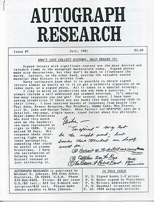 Autograph Research #7, July 1991, newsletter; celebrity signed books Part 2