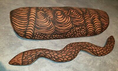 Australian Aboriginal Pokerwork Coolamon and Snake Vintage Collectable