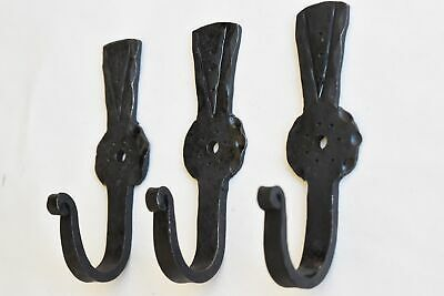 A set of 3 ancient Scottish thistle hammered wrought iron hooks LFL3