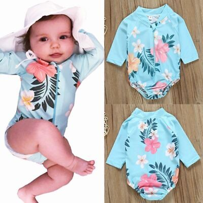 Floral Print Beachwear Bather Bathing Swimwear New One Piece Swimsuit Girls Kids