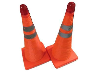 Road Traffic Cone with LED Light x2 - Orange Collapsible Emergency Hazard