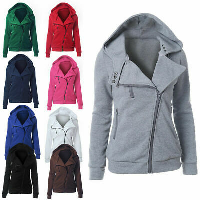 Ladies Winter Zipper Jumper Tops Hoodies Hooded Sweatshirt Pullover Coat Jacket