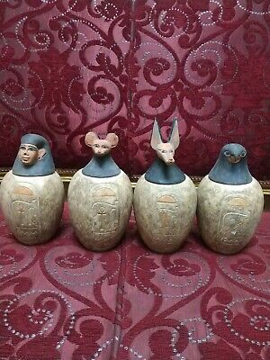 Rare Antique  Canopic Jars Ancient Egyptian 4 Large Set of stone 7.5 Kg Bc