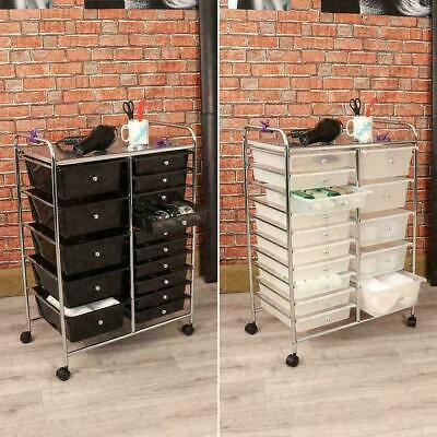 BLACK or CLEAR 15 DRAWER SALON STORAGE TROLLEY HOME OFFICE ORGANISER