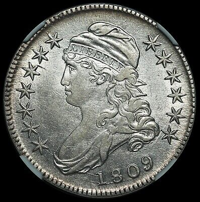 1809 U.S. Capped Bust Half Dollar 50 Cents Silver Coin - NGC AU 53