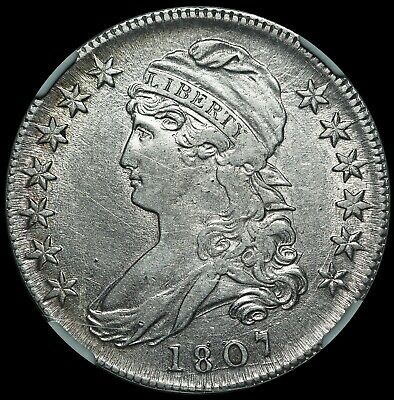 1807 U.S. Capped Bust Half Dollar 50 Cents Silver Coin - NGC AU 50