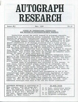 Autograph Research #17 May 1992; International Survey of Celebrities Who Respond