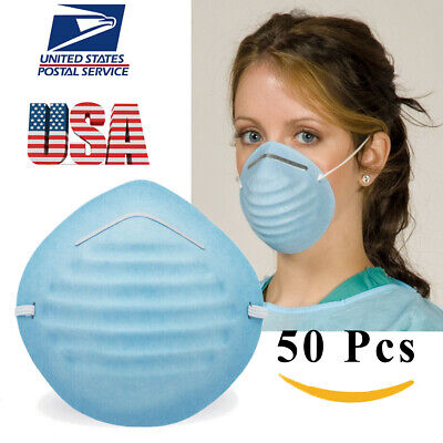 50 PCS Disposable Face Mask Medical Surgical Dental Earloop Anti-Dust 3Ply Green