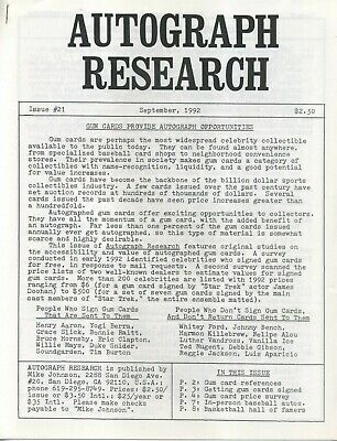 Autograph Research #21 September 1992 newsletter; signed trading card overview