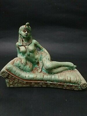 Rare Antique Ancient Egyptian Statue Queen Kilo Patra green stone bc