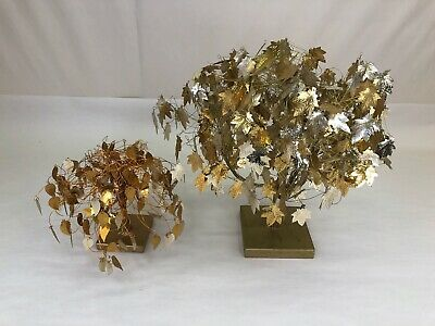 Vintage MCM Pair of Gold Leaf Twisted Wire Kinetic Dream Tree Sculptures