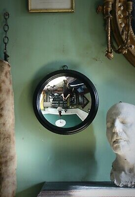 Early 20th Century Concave Distortion Fairground Mirror Ebonised Antique Curio
