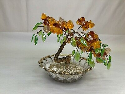 "Vintage MCM Bead & Twisted Wire Bonsai Tree Sculpture 5.5"" High Glass Bowl Base"