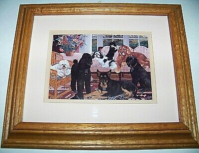 """'A House full'  4-1/2 x 6-1/2"""" Matted  solid oak frame Victorian style art print"""