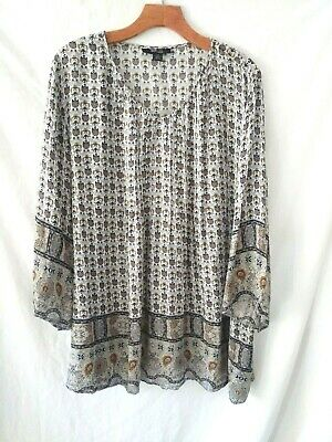 Style /& Co Blue Printed Pintuck V-Neck Ruffle Cuff Tunic Top Blouse $59 C1120