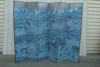 60815 QUALITY Hand Painted 6 Section Dressing Screen Room Divider