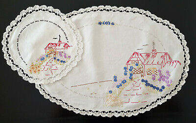 SET of 2 DOILIES, EMBROIDERED COTTAGES & FLOWERS - SHABBY CHIC, FRENCH DECOR