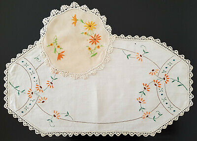 TWO x VINTAGE 1950's DOILIES on LINEN, BEAUTIFULLY EMBROIDERED FLOWERS