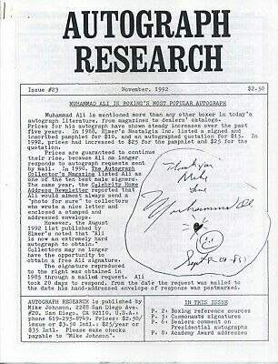 Autograph Research #23 November 1992 newsletter; Muhammad Ali on the cover