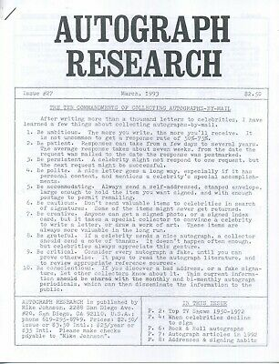 Autograph Research #27 March 1993; tips for collecting autographs by mail