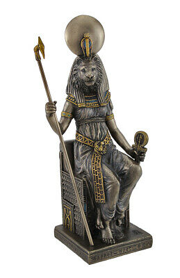 Egyptian Goddess Sekhmet Sitting on Throne Statue