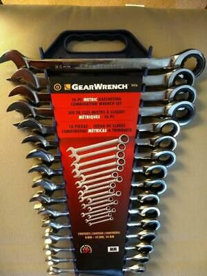 Gearwrench Ratcheting Wrench Set Flexhead Metric 8 19 24 mm Combination 16 Pcs