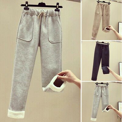 Women's Thick Pants Loose Fit High Waist Thermal Fleece Lined Sports Trousers