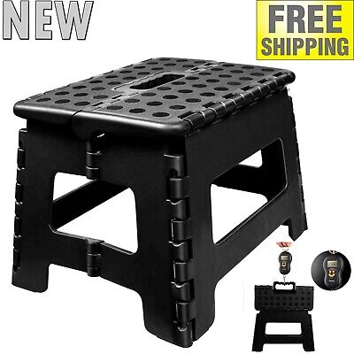 9-inch Collapsible Folding Plastic Kitchen Step Foot Stool w Handle Adults Kids