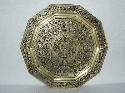 Rare Old Big Fine Inlay Carving With Black Lacquer Work Brass Tray / Plate
