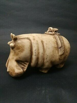 Rare ANCIENT EGYPT ANTIQUE Egyptian Wiht glazed faience Hippo statue bc