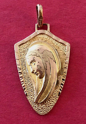 Vintage Catholic Religious Holy Medal - Blessed Virgin Mother Mary - GOLD TONE