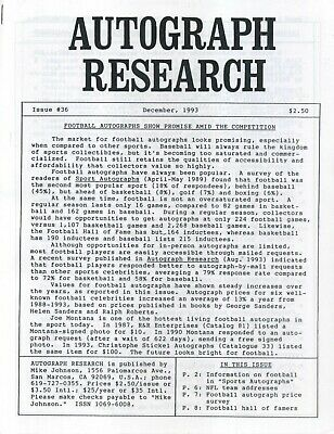Autograph Research #36 December 1993; football autograph prices and sources