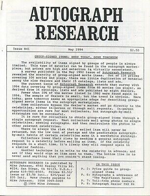 Autograph Research #41 May 1994, newsletter group-signed movie items price study